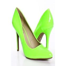 NEON GREEN POINTED TOE PATENT FAUX LEATHER DRESS PUMP