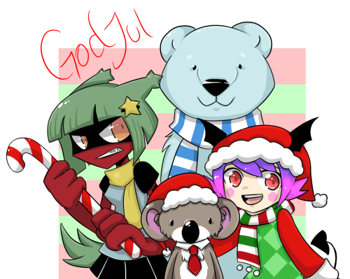 bubble89:  A little late with a Chrismas pic this year. x'D Me, Rifel, Koala, Liz and Isaac wishing you all a Merry Christmas and a Happy New Year!!! \(ovo)/ Last year's pic