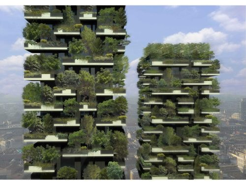 andpurified:  A vertical forest is expected to be completed this year in Milan. There are two tower apartment complexes which contain a total of 400 residential units. The facade of the buildings will be covered with 730 trees, 5,000 shrubs, and 11,000 perennial plants. It is expected to have the same ecological impact as 10,000 square meters of forest.Aside from fighting smog and producing oxygen, the foliage is expected to provide insulation to the residential units.