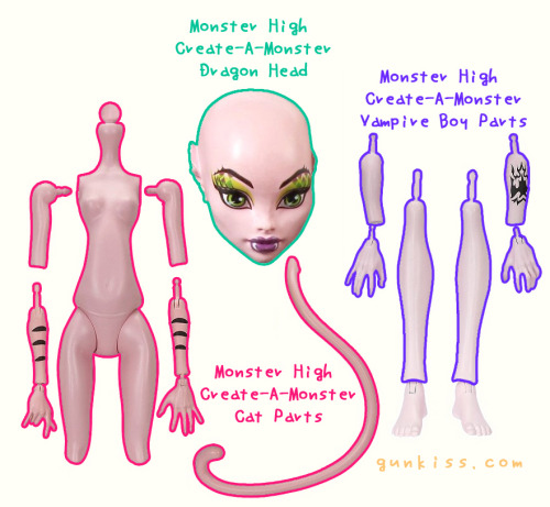 MH Custom: Dren (Splice) So I've been thinking about this for a long time and I'm gonna give it a shot. I've purchased everything needed to make Dren from Splice Monster High custom..or at least all the parts. I'm gonna use the CAM dragon head, spite the ears being dragon like I'm not gonna mod the vinyl because it's not a good idea, at least not for me and I can live with those ears anyway haha. I'm gonna use CAM Cat Body that comes with a tail but I'm gonna use CAM Vampire boy lower arms and lower legs and hands to make the double joint legs thing. The challenge I encounter is the difference in color. I'm probably not painting the doll to match the color of the different parts, what I'm thinking on doing is leaving the CAM cat body outside under the sun to clear a bit that way I can match it better and probably blush the CAM Vampire Boy parts so all matches the head, this should work, in theory, just fine =P. I must thank to The Ukelele  for THIS because I was going to give this custom normal girl legs MH come with but she solved for me how I could manage to do those double joints with MH boy parts (I've none to try it myself) since they've ankle joints, so BIG thanks!!! I also want to thank MonstersWithoutMakeup  too because of their faceup-less pictures of MH dolls I was able to decide for a proper head. Now all I've to do is wait for stuff to arrive which can be from a month up to two months which is a bummer and I can't wait!! All photos belong to Mattel!