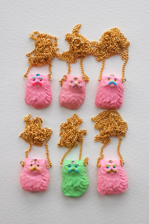 etteette:  Six little bubble gum cat amulets vying for ur loving embrace ~ ~~  Spring Cleaning ~~ As always I am so so so grateful when people pass these posts along. <3(I need you, I love you)<3  By the end of this sale (April 15th) I will be giving away what I think to be areally great prize to one person who has either reblogged this post or any of the past/future postings I make about items in my Spring Cleaning section.  One lucky person will receive : whatever they want !!! I will let the winner decide what kind of prize they would like, (a cat amulet? a locket? a caterpillar brooch?) and I will make it especially for them. ♥.♥ kiss(• ε •)kiss