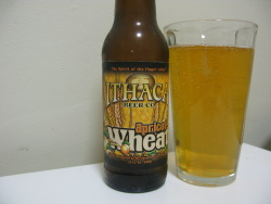 "beerbroad:  Beer: Apricot WheatBrewery: Ithaca Beer CompanyLocation: Ithaca, NYType: WheatIn Three Words: sweet, light, fizzy I was so tempted to put ""sassy"" as one of the adjectives above. Held myself back because this beer is already so sweet; it's what some jerks may call a ""girly"" beer, or what the people at Arrogant Bastard might say is a ""fizzy yellow beer"" (I mean, just look at the verify your age page of their website). But guess what? It is delicious. And with summer months, humidity and my general uncomfortableness approaching, I am all for this refreshing slice of apricot heaven. I think any fruit beer than manages to taste like the fruit they are named after and not a soda is an achievement. I am a big fan of fruit beers, but some of them (cough Shock Top raspberry wheat) (sorry, caught something in my throat) just end up being saccharine and hard to swallow. For some people this may be a dream come true: get drunk and feel like all you're drinking is soda. For other people, this isn't quite the point of beer. I am of the latter.  Ithaca's Apricot Wheat tastes like a beer. It has hints of bitterness and wheat. On top of that is a light apricot flavor that just grazes the palate. Enough to balance out the flavors and create a unique blend of all of them. It is fizzy without making me feel like I am drinking a glass of champagne. It is a very light beer. If you are looking for strong, bold, intense beers that will make you feel like Gaston from Beauty and the Beast (minus the sexsist tendencies) this isn't the beer for you. But I was kind of hoping you might guess that from the name of the beer. I like this beer. I like that it does what it sets out to do. It is delicious, refreshing and not too sweet. Grab me another six pack. Yum."