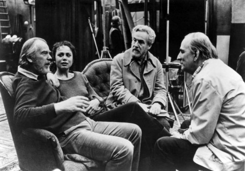 Cinematographer Sven Nykvist, Lena Olin, Erland Josephson and director Ingmar Bergman on the set of After the Rehearsal