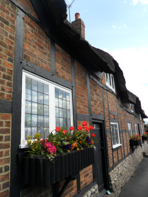 Row of thatched cottages with spring window boxes, Market Bosworth, Leicestershire, England All Original Photography by http://vwcampervan-aldridge.tumblr.com