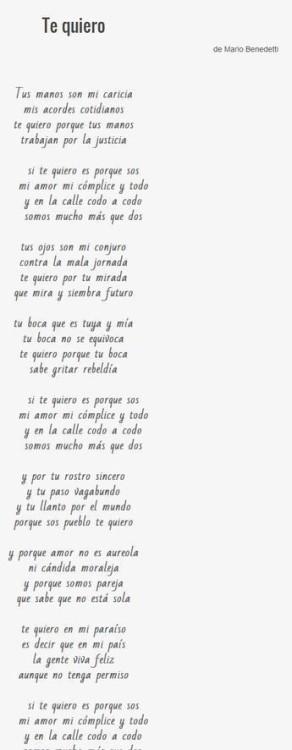 Te quiero Poema Mario Benedetti I love you I love you poem Poetry