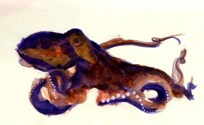 susurrating octopus (getting back into gouache - it's always a muddy mess at first) : gouache, colored pencil