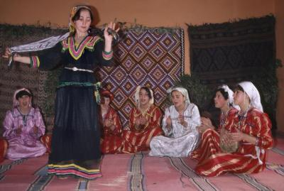 ALGERIA. Bejaia. Young women from a high school folk group perform traditional Kabyle dances. 1982© Abbas/Magnum Photos