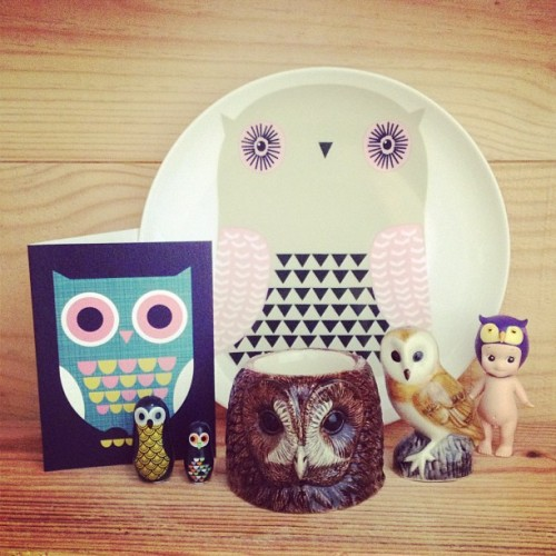 thelittledromstore:  Owl Friends Introducing some owl friends nesting at the little dröm store, (in clockwise position): ceramic plated by Donna Wilson, owl Kewpie, ceramic owl salt & pepper shaker, ceramic owl egg cup, owl matryoshka dolls & owl card by Ingela Arrhenius.