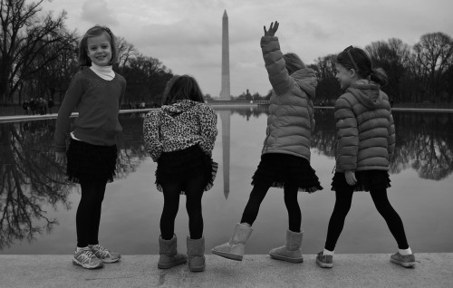 Quadruplets in front of Reflecting Pool