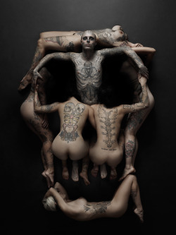 poorartists:  Zombie Boy / Rick Genest Photoshoot I recently had the opportunity to photograph Rick Genest- also known as Zombie Boy or Rico the Zombie. The photoshoot was for the March, 2013 cover of Rebel Ink Magazine. Zombie Boy is a model and sideshow performer who is famous for his zombie-skeleton tattoo covering almost his entire body. You may have seen him featured in major fashion advertising campaigns, Lady Gaga music Videos, and even a tattoo removal make-up commercial. Whether you're a fan of his tattoos or not, I can say that Rico the Zombie is truly stunning to look at, and it's impossible to keep your eyes off him. - Joey L