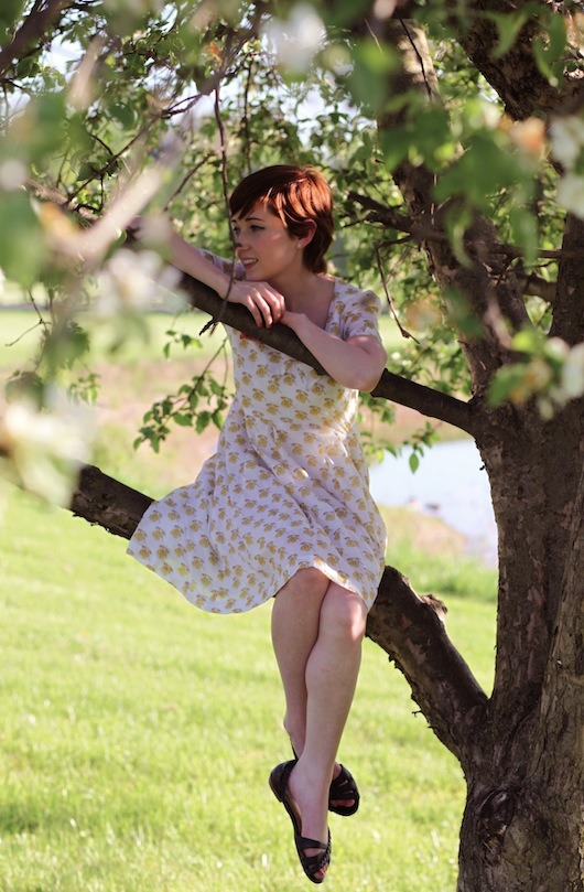 toujourstoi-familyaffairs:  theclotheshorse sitting in a cherry tree with our Cafe Zoe dress!   new outfit post is up. click-through for more pictures. details:thrifted jacket (similar here)family affairs dressseychelles sandals (old, similar here)*pictures by thedustdancestoo