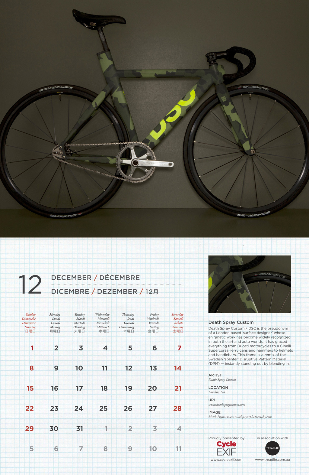 DSC is amongst the incredible bicycles on display in Cycle EXIF's 2013 calendar. December looks like a good month. Pick up a copy here http://www.magcloud.com/browse/issue/464799