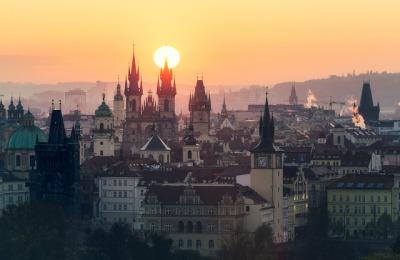 #prague, #czech_republic, #sunrise, #city, #skyline, #architecture, #europe, #travel