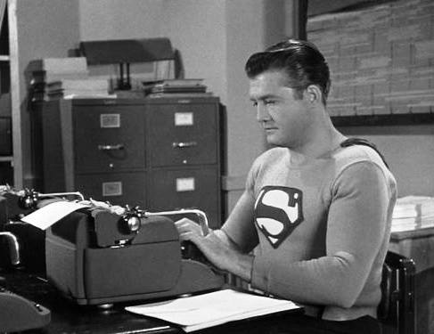 retrogasm:  Superman on his Super-typewriter  Man, could those fingers fly!