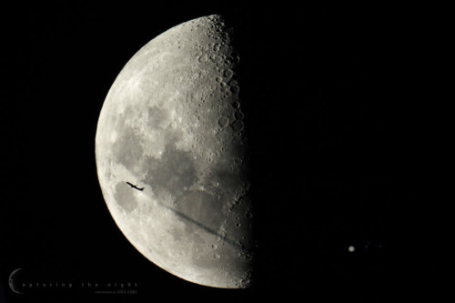 rwa42:  Fly Me to the Moons Image Credit & Copyright: Greg Gibbs (Capturing the Night  Explanation: Sometimes the Moon is a busy direction. Last week, for example, our very Moon passed in front of the planet Jupiter. While capturing this unusual spectacle from New South Wales, Australia, a quick-thinking astrophotographer realized that a nearby plane might itself pass in front of the Moon, and so quickly reset his camera to take a continuous series of short duration shots. As hoped, for a brief instant, that airplane, the Moon, and Jupiter were all visible in a single exposure, which is shown above.