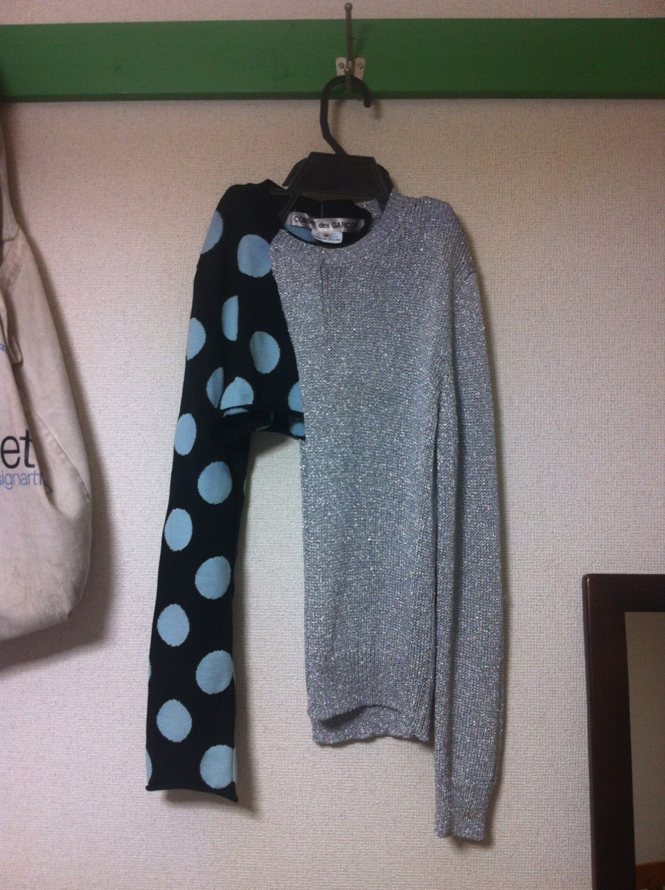 eye99:  Day 1. Comme Des Garcons jumper. Silver and black and blue polka dot.