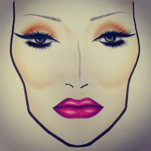 My Fashion Sets facechart. #heroine #liner #embraceme #lipstick #ablaze #eyeshadow #lashes #contour #facechart #mac #macboy #macboys #igdaily #paintedforthegods  (at MAC)