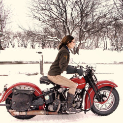 motolady:  Brittney Olsen on an old Harley Davison, photo by Mathew Olsen.