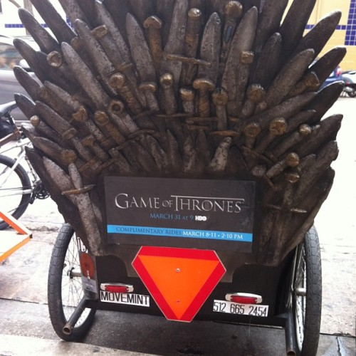 Winter is coming!! (To a pedicab near you.) #sxsw #austin by @jjpink http://instagr.am/p/Wp31K8jfQI/