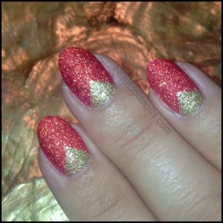 OPI Liquid Sand triangle half-moons with Jinx and Honey Ryder