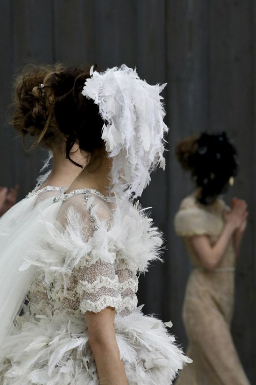 suicideblonde:  Two Brides at the end of Chanel Couture Spring/Summer 2013