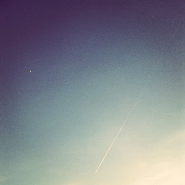 #sky #deepblue #bluesteel #moon #plane #sunset