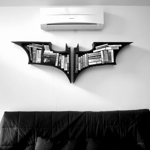 laughingsquid:   Batman Symbol Bookshelves, Inspired by 'The Dark Knight' Trilogy