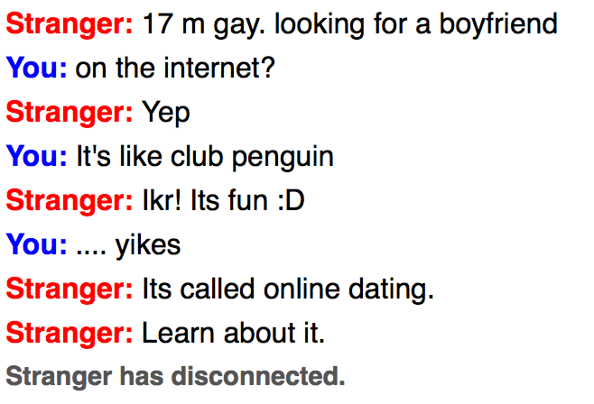 … omegle, I was just sassed!