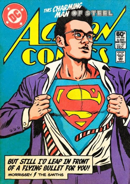 heroesandvillainstucson:  Morrissey X Superman  Art by Butcher Billy.