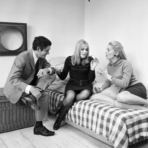 "frenchcinema:  Jacques Demy, Françoise Dorléac and Catherine Deneuve during an interview for their film ""The Young Girls of Rochefort,"" 1967"