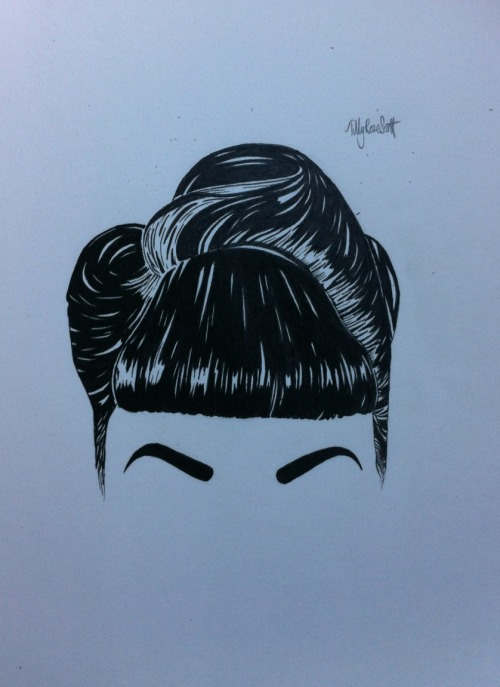tillyroseart:  newest drawing. Pin up hair style, going to add something different to it just don't know yet.