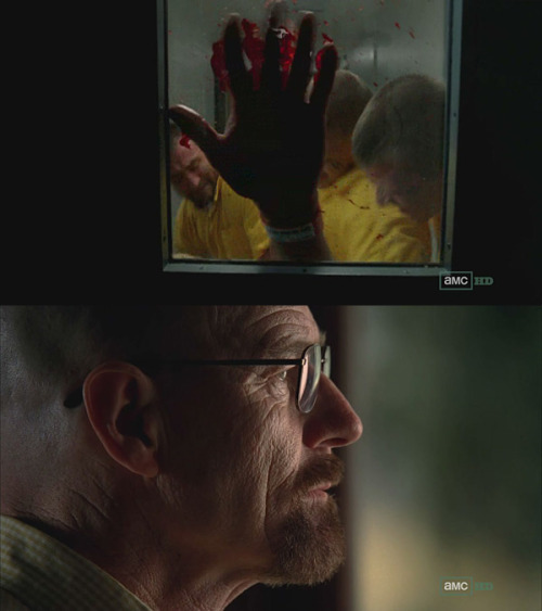 "heisenbergchronicles:  Q: You've worked with so many images and scenes on the show. Which is your favorite? A: ""In Episode 508, during the prison montage, there was a shot of a guy in prison where he was caught behind a door. A prison door slammed on him, and you can see him through the window. These other guys are coming up on him and they start to stab him with these little shivs, but you only see them through the window, and this guy banging on the glass with his bloody hand and then we cut to Walt's face, a profile. That was one of my favorite cuts. It wasn't that flashy, but it meant a lot. In one shot it's showing how Walt is the guy behind all this mayhem. And he's very calm. Those are the kind of things that I'm trying to do."" – from Q&A with Breaking Bad Editor Kelley Dixon"