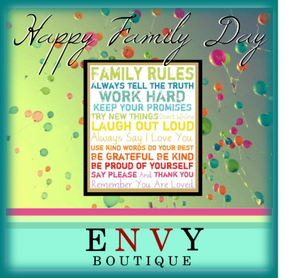 "Happy Family Day from Envy Boutique by dressup on PolyvoreFamily Rules Multi-Color 20"" High Motivational Wall Art - #Y0515"