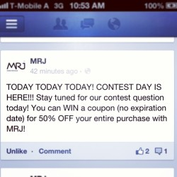 LIKE the Facebook page to participate in our contest today! www.facebook.com/MRJ.handsfreebags #contest #discount #prize #win #winner #competition #fashion #fblog #fblogger #coupon #sale #style #handsfree #bags #concept #shopping #shop #online #facebook #fun #game #games