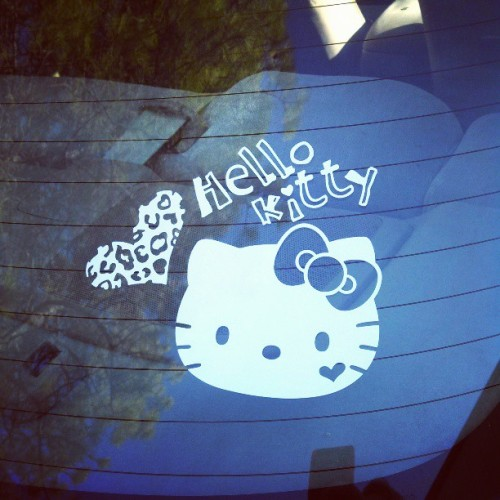 properpinkprincess:  My new window decal! #hellokitty