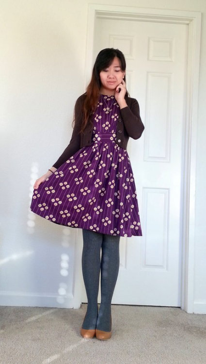 ModEmployee Jade is looking absolutely adorable in one of our Too Much Dresses! I love this color and the way she styled it with grey tights, plum cardigan, and tan heels. Too cute!  <3 Chelsey, ModStylist  Need styling suggestions, trend tips, or dress details? Ask a ModStylist and your question might be featured on our feed!