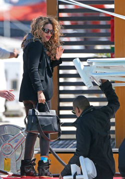 fuckyeahbeyoncefashionstyle:  Beyoncé and Jay-Z in France today