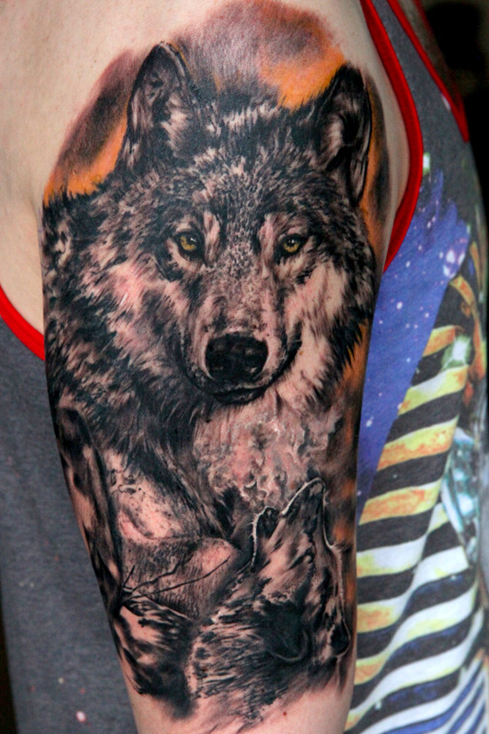 fuckyeahtattoos:  My wolf half sleeve tattoo done by Seuhghyun Jo aka Potter at Forever Yonge Ink in Toronto, Ontario.