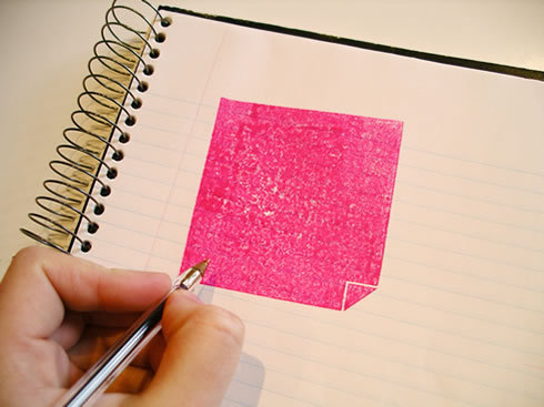"""Exploit(ing) the iconic nature of the Post-It whilst saving paper."" Post-It Stamp (2005) by Jasmine Raznahan. Love it!"