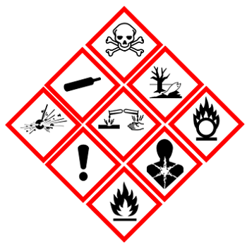 The GHS uses pictograms, signal words, and hazard warnings to relay information meant to improve safety in haz-mat storage. [2]