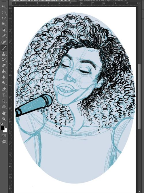 "I've decided to bring some more ""afro-licious"" and musician themed work so why not start with one that says both?! Here's the beginnings of a Corinne Bailey Rae portrait. It will get all it's fluffs and clean ups as the progress goes on. Enjoy the work in progress for now!"