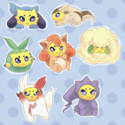 alternativepokemonart:  more pokemon dressed as other pokemon? SOURCE (they also already did three of the four new Pokémon revealed today)   ARTIST  This is the best thing ever.