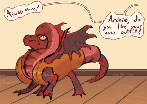 """raevenlywrites:  chipper-smol:  Archmagus, Devourer of Thousands, Herald of Scorched Earth, The Endtime's Offspring did not, in fact, like his new outfit.   [ID: A small red dragon in a hotdog suit, neck arched in indignation. A speech bubble cutting in from offscreen reads """"Awwww! Archie! Do you like your new outfit?"""" End ID]"""