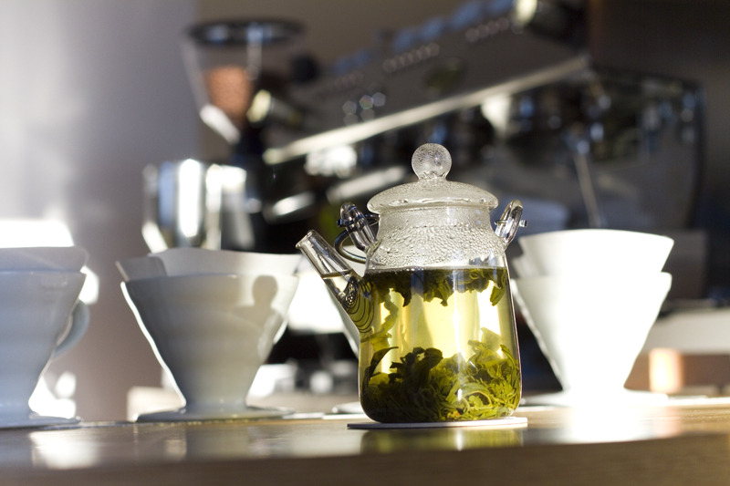 Our own Green Eyebrow Tea, steeping at Tandem Coffee.