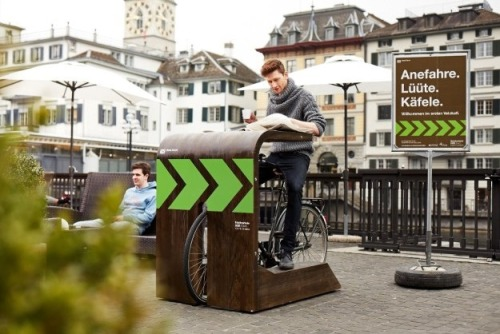lifewithoutbacon:  percolatehq:  Coffee Break! In Zurich, A New Bicycle Drive-in Cafe Lets Riders Drink on the Go (via Bicycle Drive-In Cafe Lets Riders Drink On The Go - PSFK)   Dear New York, get involved.