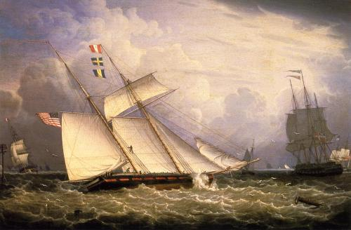 ships-boats:  An American Schooner Close-Hauled - Robert Salmon