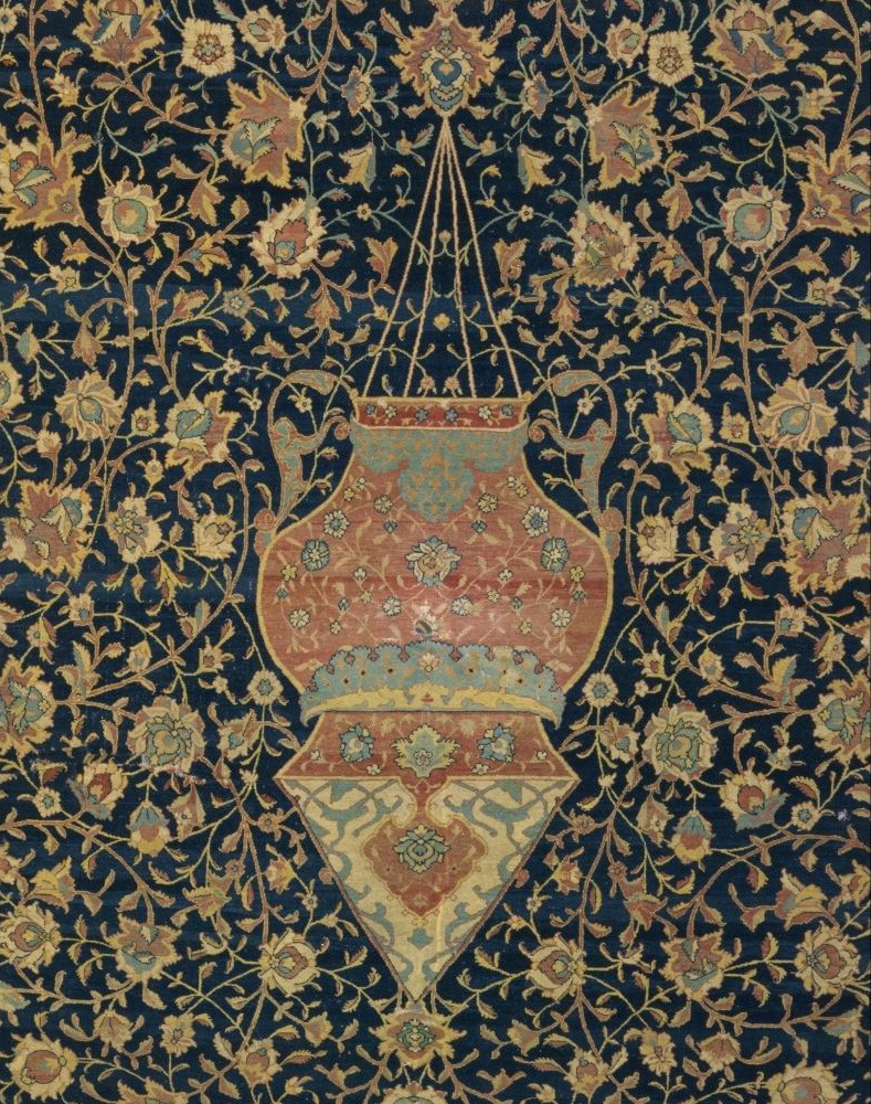 Detial of a mosque lamp on the Ardabil carpet