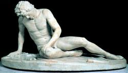 "simonscloset:  cavetocanvas:  Dying Gaul (Dying Trumpeter) Marble, c.. 220 BCE. Roman copy of Greek bronze original. Things to think about when studying: What artistic period is this from? Which elements of the sculpture are indicative of that period? This sculpture was super popular - how did people demonstrate how much they liked it?  I don't remember the first two but I do remember that people copied it endlessly and that seeing this sculpture was part of a ""grand tour"" of Europe in the 17th and 18th centuries. Oh and Napoleon stole it.  Also, this happened:  John DeAndrea (American, born 1941), Dying Gaul , 1984, polyvinyl and polychrome with pigment. On display at the Portland Art Museum"