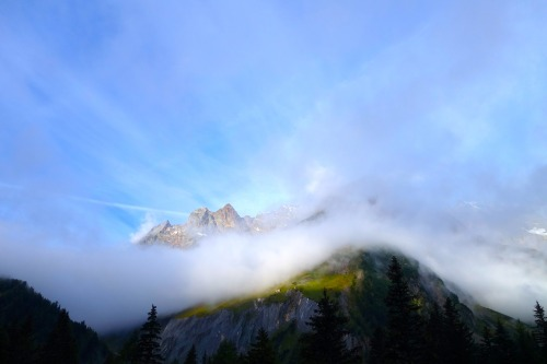 Daybreak in La Fouly, Switzerland during the 2014 Ultra-Trail du Mont-Blanc.Photo: Bryon Powell