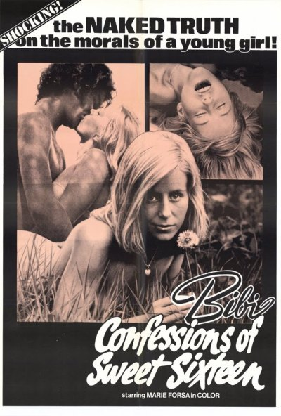 Bibi - Confessions Of A Sweet Sixteen movie poster (1974, starring Marie Forsa in Color) ~ old Grindhouse film